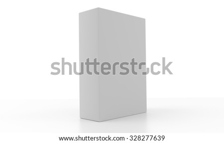 Concept of a 3d light white box isolated on white background. Rendered illustration.