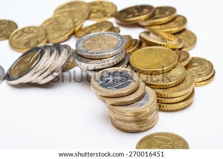 Concept of a depreciation euro, macro shot - stock photo