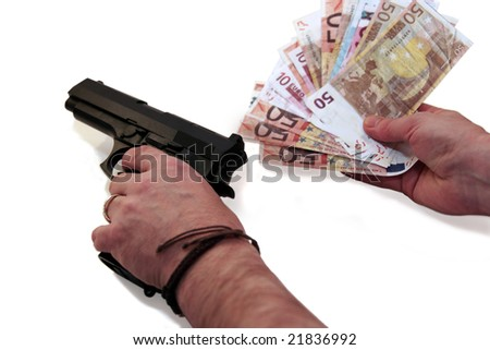 concept of a drug deal or gun hire going down against a white background - stock photo