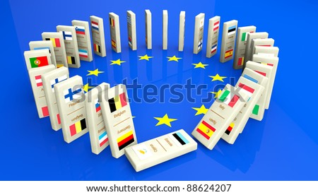 Concept of a European financial crisis, created with dominoes tiles with all the European community countries. The start of a disaster has begun... - stock photo