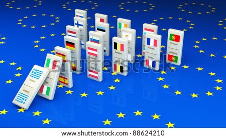 Concept of a European financial crisis, created with dominoes tiles with all the European community countries. Greece goes first, followed by Italy and so on... - stock photo