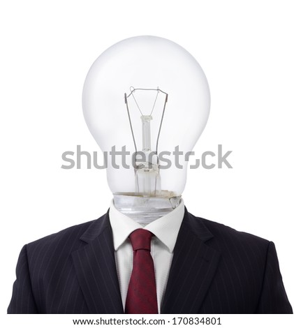 concept of a good idea businessman with a light bulb for a head isolated - stock photo