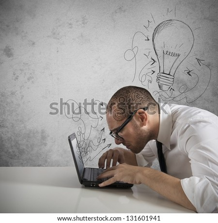 Concept of a great idea of a businessman - stock photo