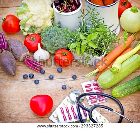 Concept of a healthy diet with supplements - stock photo