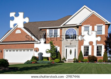 Concept of a home - parts of the puzzle is missing. - stock photo