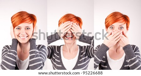 Concept of a saying: hear no evil, see no evil, speak no evil - stock photo
