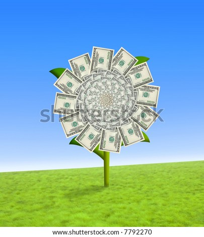 Concept of a sun flower with dollar bill leaves.