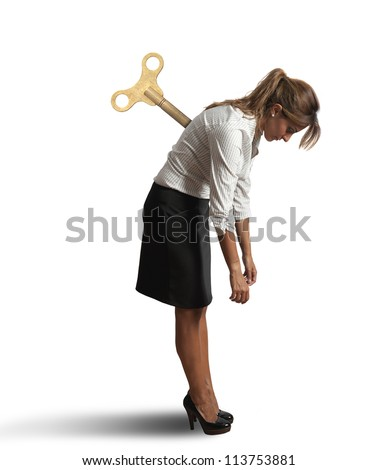 Concept of a tired businesswoman - stock photo
