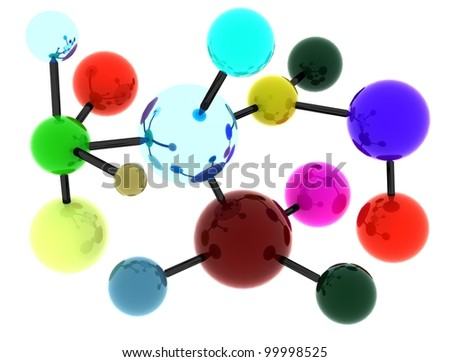 Concept of abstract molecular structure portrayed by slightly reflective spheres in bright colors interconnected by black cylinders forming linkage. Scene rendered and isolated on white background. - stock photo