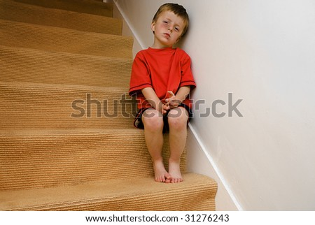 Concept of an angry abused child. - stock photo