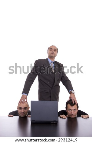 Concept of an evil boss and his team, isolated on white background