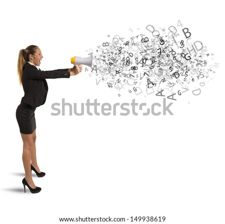 Concept of announcement with businesswoman with megaphone - stock photo