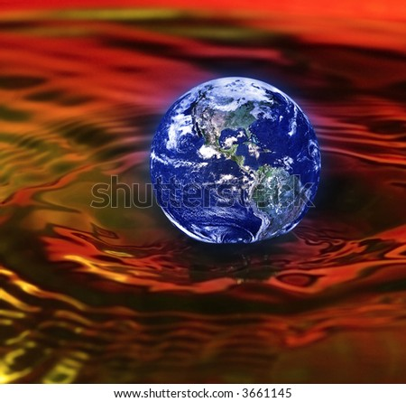concept of armageddon with the earth drowning in red waves - stock photo