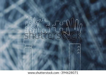 concept of artificial intelligence: human and robot hands solving a puzzle - stock photo