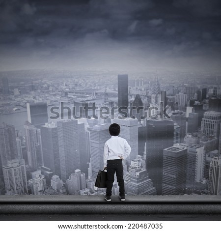 Concept of asian businessman looking for a job - stock photo