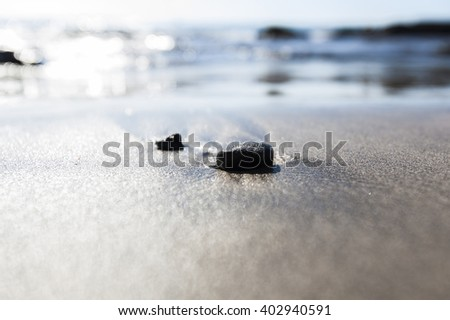 concept of balance and harmony. rocks on the coast of the Sea in the nature - stock photo