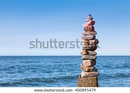 Concept of balance and harmony. Rocks zen on the sea - stock photo