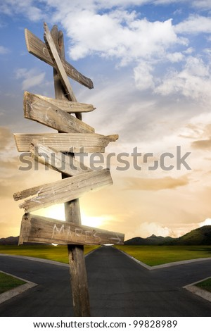 Concept of being lost with a roadsign