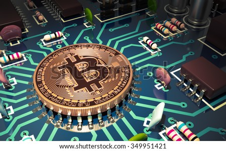 Concept Of Bitcoin Like A Computer Chip On Motherboard. 3D Scene. - stock photo