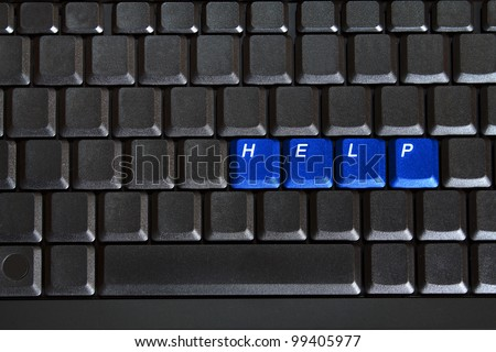 concept of blank computer keyboard with blue keys HELP
