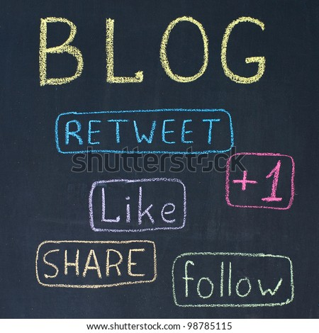 Concept of blog with share buttons, chalk drawing - stock photo