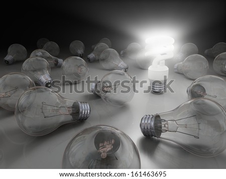 Concept of bright idea with eco lightbulb
