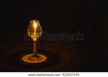 Concept of Buddha candle. In the dark night The light of a small candle. He also enlightens visitors. Mind the dark. 1 million candlepower, it may not be a shining light for them. - stock photo