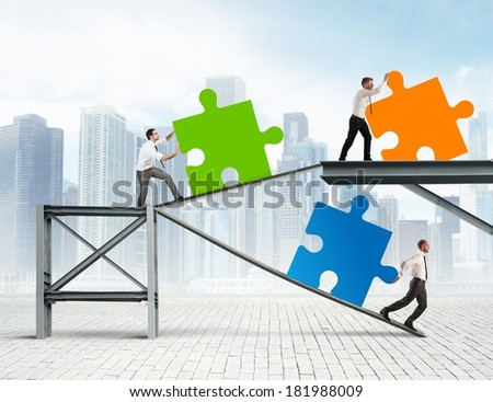 Concept of Build a new company with puzzle - stock photo