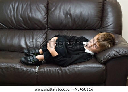 Concept of bullied school boy. - stock photo