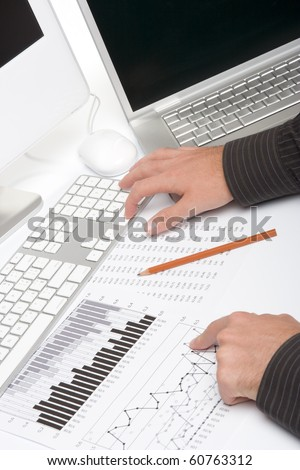 Concept of business analysis - one person - stock photo