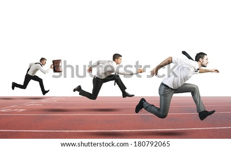 Concept of Business Competition with businessman that running in a track - stock photo