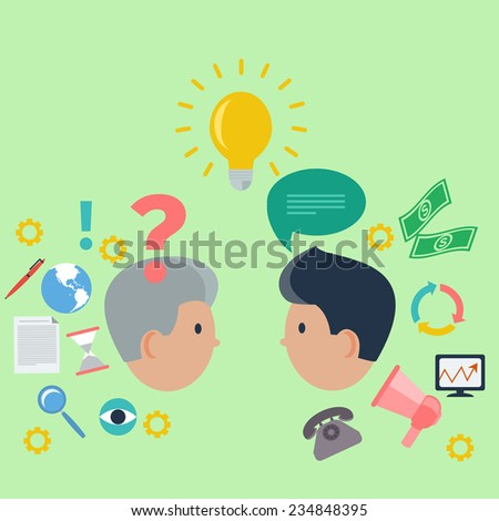 Concept of business consulting with brainstorm and teamwork  of two professionals on green background. Raster version - stock photo