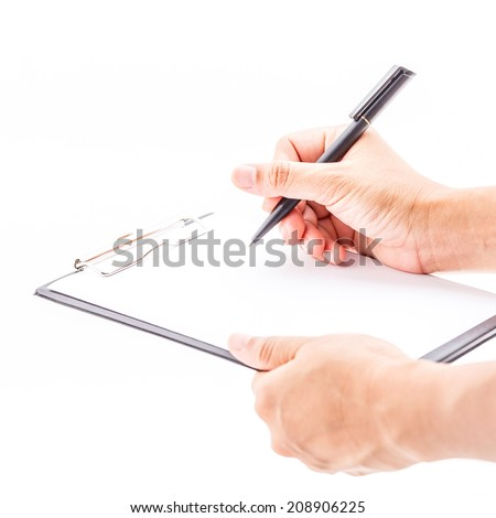 Concept of business holding a clipboard and write on it, isolated on white background.