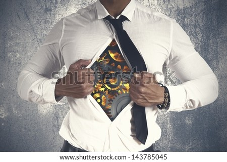 Concept of business machine with a businessman - stock photo