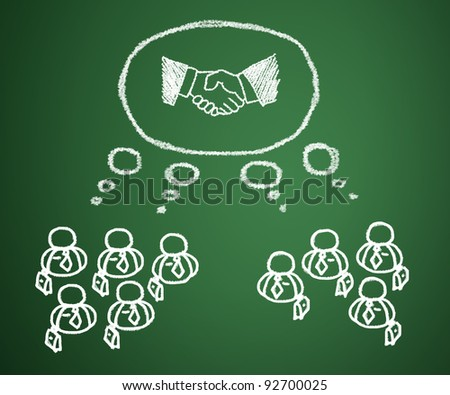 Concept of business people who have a need for cooperation in joint venture and sales. - stock photo