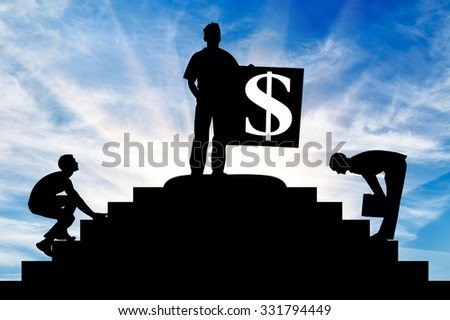 Concept of business. Silhouette of a businessman at the top of the stairs with a dollar sign and competitors