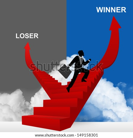 Concept of Business Solution Present By Winner and Loser Stairway With The Businessman Step Up to Top of The Arrow in Blue and Gray Sky Background  - stock photo