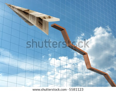 Concept of businesses in growth. An airplane done of the paper of a company, it is played by one of the employees, resulting in the drawing of the graph. - stock photo