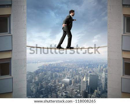 Concept of businessman and difficult business - stock photo