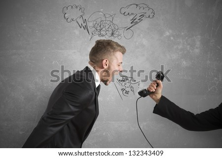 Concept of businessman and tension at work - stock photo
