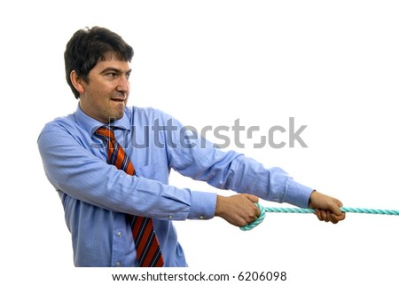 Concept of businessman pulling on a piece of rope. - stock photo