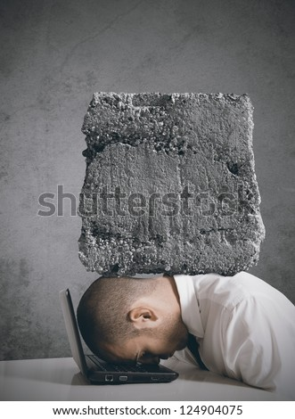 Concept of businessman stressed at work - stock photo