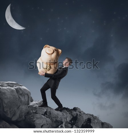Concept of businessman that save the money - stock photo
