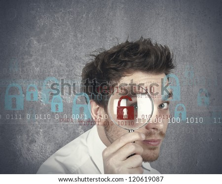 Concept of businessman that searches  virus