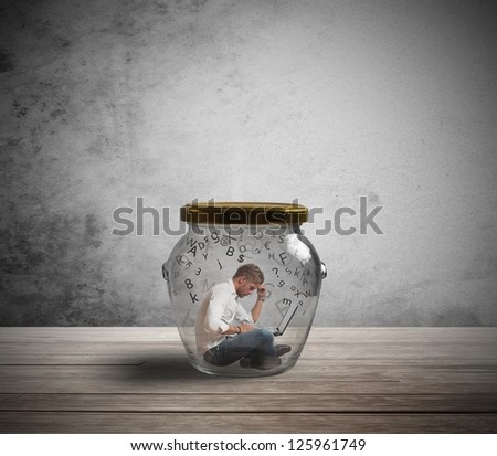 Concept of businessman trapped by work - stock photo
