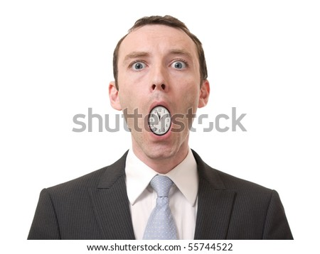concept of businessman with a clock in his mouth - stock photo
