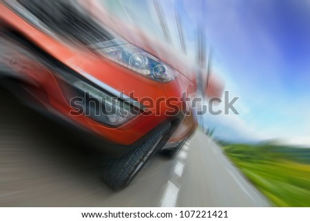 Concept of car speed - stock photo