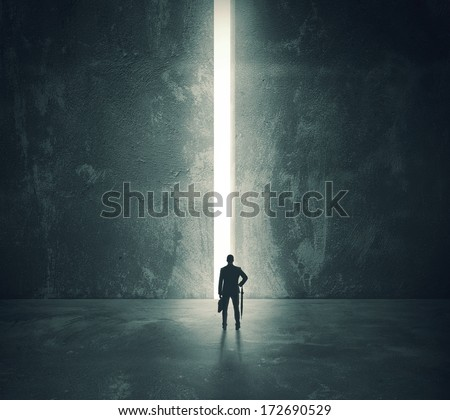 Concept of career and freedom with a bright open door - stock photo