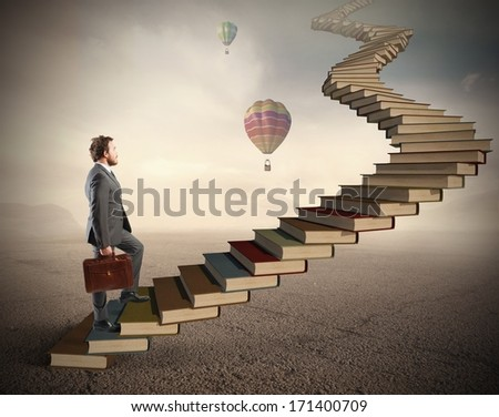 Concept of challenge and difficulty in the study - stock photo