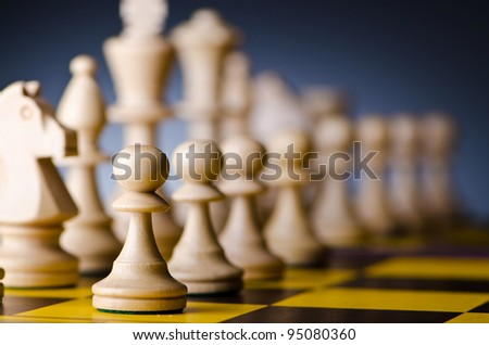 Concept of chess game with pieces